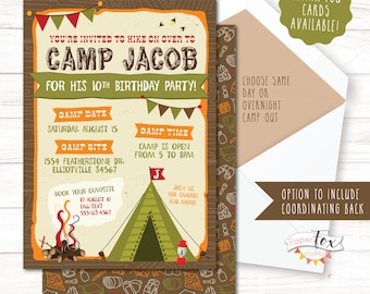 Camping invitations etsy camping birthday invitation camping birthday party invitation camp out party camping party filmwisefo Image collections