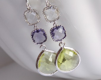 Glass Earrings, Apple Green, Purple, Clear Crystal, Silver, Bridesmaid Jewelry, Bridesmaid Earrings, Bridal Jewelry, Bridesmaid Gift