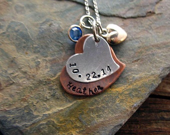 Mother's Personalized Necklace, Hand Stamped Copper Heart, Child's Name, Birthdate, Custom, Silver Heart Swarovski Elements Birthstone