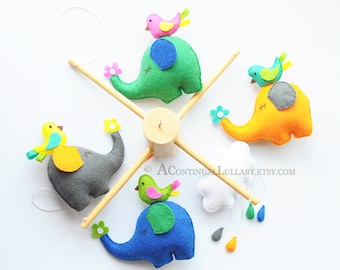 Elephant and Birds Baby Mobile, Blue Grey Orange Green, Cloud Mobile, Cloud and Rain, Raindrop Mobile, Cloud Nursery, Elephant Flower Bird
