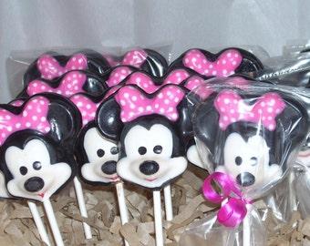 Chocolate Minnie Mouse Lollipops