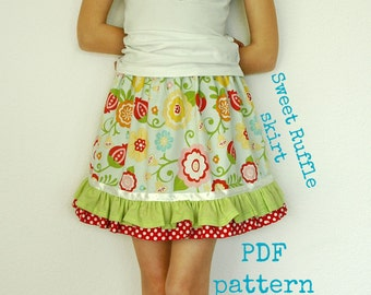 Girls ruffle skirt pattern, Toddler pattern, Childrens sewing pattern, Easy sewing pattern, Twirl skirt - Sweet Ruffle skirt pattern (S110)