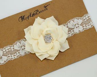 Flower girl headband, rustic wedding headband, bridal headband, ivory lace headband, baby girl headband, ivory flower headband