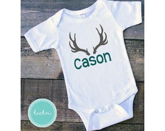 Boy's Personalizes Deer Antler One Piece Bodysuit | Momogram Antler Infant Bodysuit | Antlers Baby Outfit