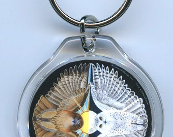 Snowy Owl and Red tailed Hawk Key Chain