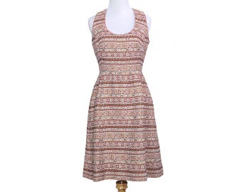Vintage 60s Red and White Fair Isle Brocade Dress