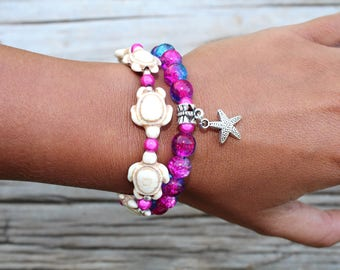 African Beaded Bracelets for women Bohemian Bracelets Beach Jewelry Star Fish Charm Bracelet Pink and Blue Glass Beads Beach Boho