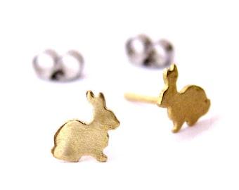 Bunny earrings in silver or brass