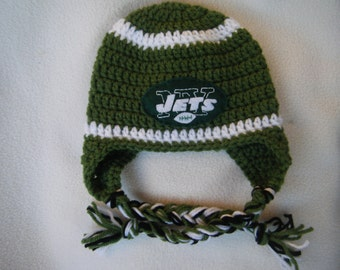 Crocheted Jets Inspired Team Colors or (Choose your team)  Football Helmet Baby Beanie/hat - Made to Order - Handmade by Me