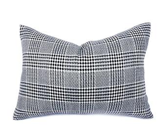 Plaid Pillows, Black White Plaid Pillow, Plaid Pillow Cover, Accent Pillow, 20x20 Decorative Pillow, Wool, Throw Pillow Cover, Lumbar, 14x20