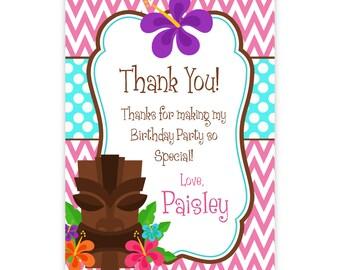 Luau Thank You Card - Pink Chevron and Turquoise Polka Dots, Tiki Man Luau Personalized Birthday Party Thank You - a Digital Printable File