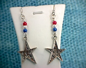 Patriotic Red, White & Blue Star Dangle Earrings (3)