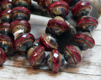 Picasso Beads - Czech Glass Beads - Saturn Beads - Planet Beads - Saucer Beads - Red Czech Beads - Red Picasso - 10pcs (4746)