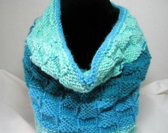 Teal Blue  Basket Weave Knitted Cowl Scarf in Acrylic Yarn