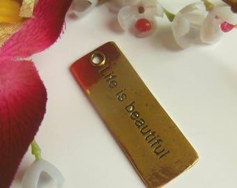 pretty rectangular pendant with inscription