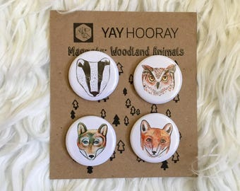 Woodland Animals, pin button badges, magnets hand drawn illustrations, Badger, Owl, Wolf, Fox, watercolor