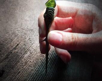 Green Tourmaline ~ Crystal Thorn ~  black locust wizard faerie magic pixie nature woods realm legend lore goddess elf ritual altar