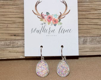 Rainbow Clear Teardrop Druzy Earrings