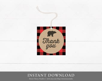 Lumberjack Favor Tag | DIY Printable Digital File | Hang Tags, Thank You Tag, Gift Tags, Adventure, Woodland | DC020