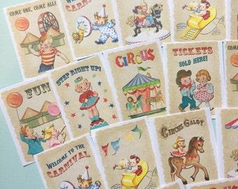 Circus Stickers - Set of 18 - Handmade Stickers, Vintage Style, Vintage Circus, Cute Planner Stickers, Cute Circus, Birthday Stickers