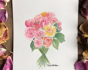 An Original Watercolor, A Bouquet of Roses
