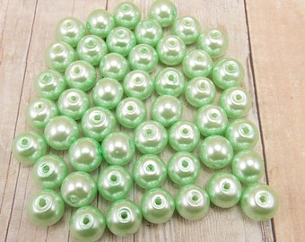 8mm Glass Pearls - Mint Green - 50 pieces