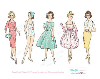 Printable RETRO GIRLS Sampler set of die cuts! - Digital File Instant Download- hand drawn, ephemera, vintage lady, 1960s, pastels, collage