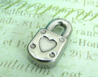 Lock Charm, Stainless Steel Jewelry Pendant, Set of 2 SST Findings 18x10x4.5mm Lock with Heart Charm Medium size (027)