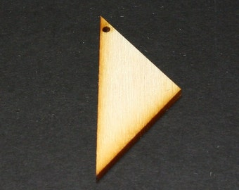 Unfinished Wood Triangle - 2-1/2 inches tall by 1 inch wide and 1/8 inch thick with 1 2mm hole wooden shape (TRIA49)