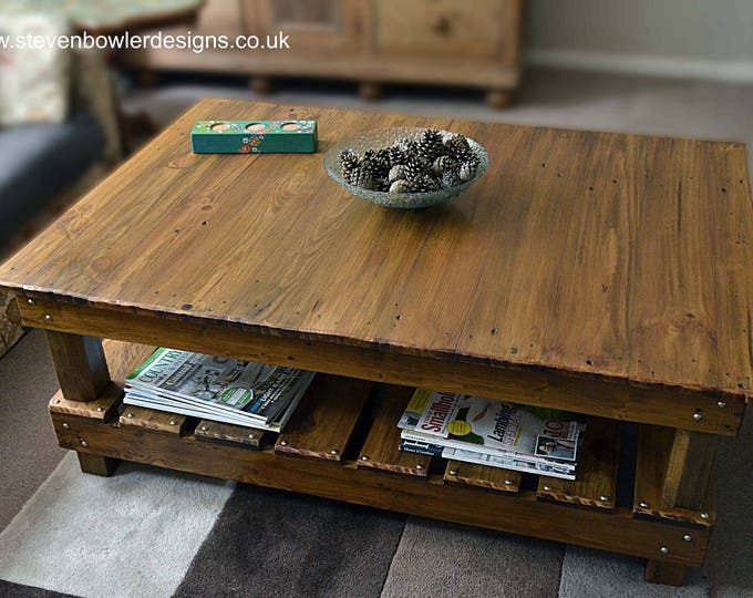 FREE UK SHIPPING Bespoke Country Cottage Rustic Reclaimed Wood Coffee Table Medium Oak Stain Undershelf Storage Decorative Copper Tacks