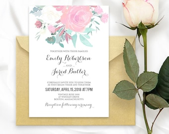 Printable Floral Wedding Invitation Template - Rustic Summer Shabby Chic Wedding Invite DIY Pink & Turquoise Watercolor Wedding Invitations