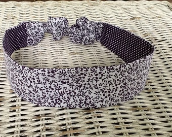 Purple Flower Headband - Reversible Polka Dot Headband - Womens Headband -Fashion Headband - Adult Headband - Kids Headband - Hair Accessory