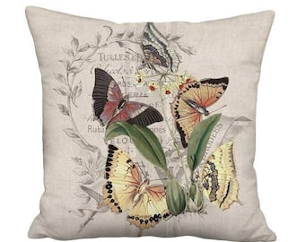 16x16 Inch - READY TO SHIP - Linen Cotton Summer Butterflies Pillow with Insert - French Cottage Beige Grain Sack Style Cushion