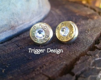 40 Caliber Bullet Casing Post Earrings- Crystal