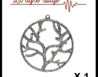 Large 44mm x 40mm antiqued silver tree Branches round pendant
