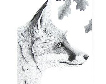 Black and white fox art, Fox illustration animal print, Fox drawing, Graphic art, A4 art print, Pen and ink, Ink art, Monochrome fox