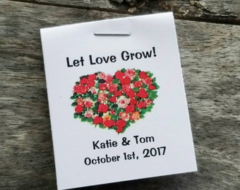 Mini Red and Pink Floral Roses Heart Flower Seed Favors - Bridal Shower Favors - Wedding Favors Personalized for your Event - Seed Packets