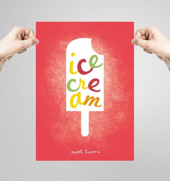 Wall art decor. Picture ice cream. Printable art. Ilustration. Digital print. Instant digital download