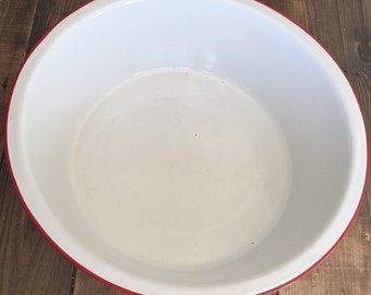 Vintage Large White/Red Enamelware Basin