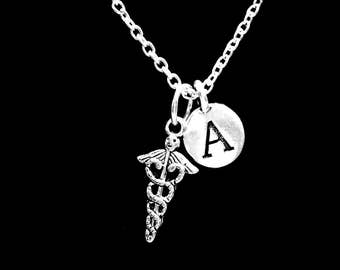 Initial Nurse Gift Necklace, Stethoscope Caduceus Cross Medical Symbol Gift Doctor Paramedic, EMS Charm Necklace