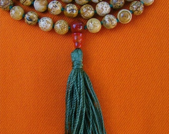 Picture Jasper Hand Knotted Mala Necklace with Moss Agate and Carnelian - Japa Mala Prayer Beads