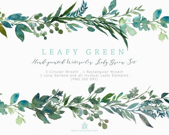 Digital Clipart- Watercolor leaves  Clipart, wreath Clip art, leaf Clipart, wedding diy clip art- Leafy Green Wreaths