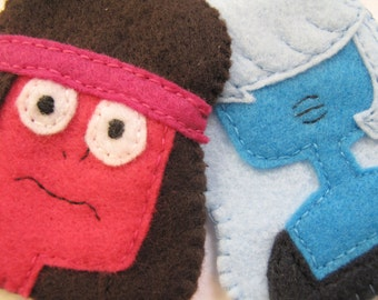 Ruby and Sapphire from Steven Universe. A felt face sewn in 2-D