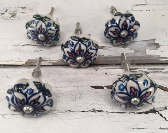 Knobs, AS IS-CLEARANCE Hand Painted Decorative Pull Knob, Furniture Upgrade Ceramic Drawer Pulls, Cabinet Supplies, Item 278696808