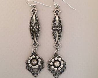 Dangle Rhinestone with Metal Filigree Drop Earrings FREE SHIPPING