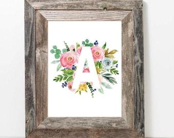 Custom 8x10 Spring Watercolor Floral Letter, Initial, Monogram Printable and Digital Print