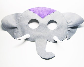 Elephant felt mask Grey zoo animal costume for kids and adults boys girls - soft photo prop dress up play accessory - party favor