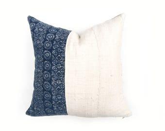 "22"" Mudcloth and Hmong Batik Fabric Pillow Cover with Belgian Linen Back"