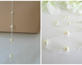 Pearl Backdrop Attachment, Pearl Backdrop Necklace,Drop Back,Backdrop Add On,Backdrop Necklace,Swarovski Pearls,YOU CHOOSE PEARL Color