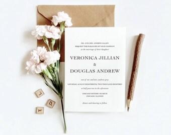 Simple Minimalist Wedding Invitation Suite   Printable Wedding Invitation  RSVP   Details   Printable Invite
